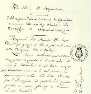Prima pagina dell' Atto Costitutivo originale del 14 settembre 1884.